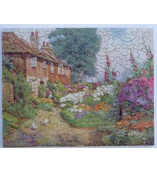 Vintage J. Salmon wooden jigsaw - cottage and garden