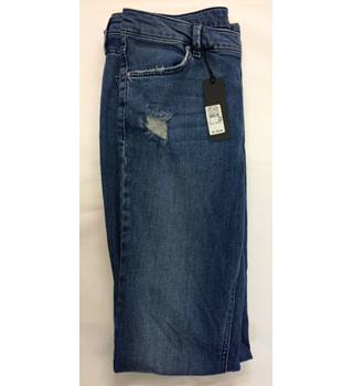 BNWT Womens River Island Brooke Flare Blue Distressed Ripped Jeans Regular Fit Bootcut Size: 12