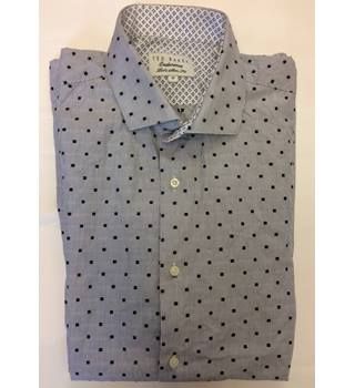 New Ted Baker Endurance Mens Dot Collared Long Sleeved Grey Button Up Work Slim Fit Shirt