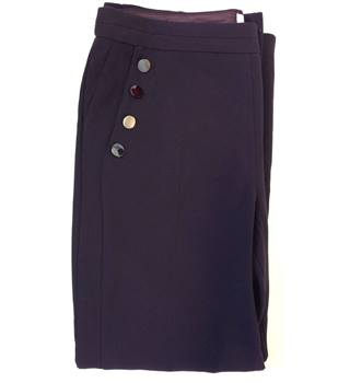 BNWT Per Una Curves Plum Side Button Work Purple Trousers Wide Leg Regular Size: 18