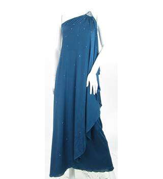 VINTAGE 1970s Carnegie of London - Size: 10 - Steel Blue - Off The Shoulder Grecian Style Maxi Dress