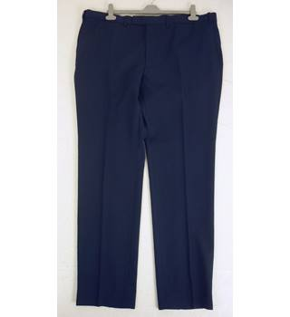 "M & S Size: XL, 42"" waist, 33"" inside leg, slim fit Navy Blue Smart/Stylish Wool Blend Flat Front Trousers With Active Waist"