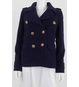 Hobbs Size 8 Navy Blue Smart Military Style Wool Jacket