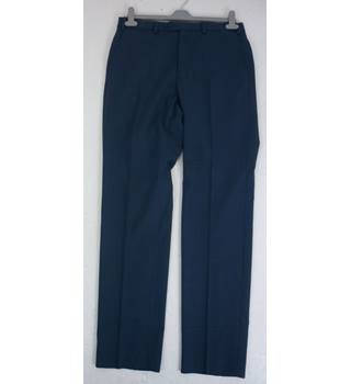 "M & S Size: M, 32"" waist, 33"" inside leg, tailored fit Navy Blue Mix Stylish Wool Blend Flat Front Trousers With Active Waist"