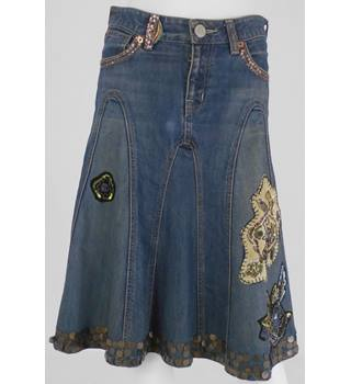 WHISTLES Blue Denim Knee-Length Skirt UK Size 8/Euro Size 36