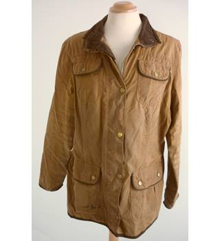 "Barbour Size: 16, 39"" /99cm chest ,reg length Indian Tan Brown Country ""Utility"" L1090 Treated Cotton British Made Jacket"