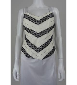 Coast Size 10 Ivory With Black Detailing Polyester Top