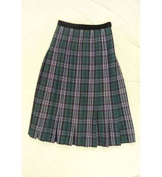 Pleated Tartan Woollen Skirt made in England by Viyella in a UK size 14
