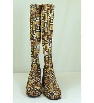 Fancy Patterned Long, Block Heel Boots made in Italy by Bronx in UK equivalent size 4