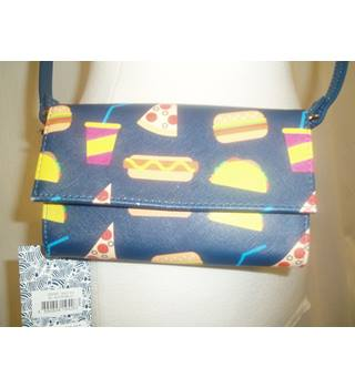 "BNWT  Dabney Lee  Size 4.5 x 6.5""  Navy blue Mini shoulder bag with fast food print in multi colours"