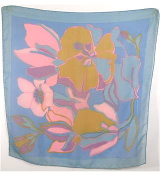Contemporary Chalk Coloured Pansy Print Scarf With Rolled Edges