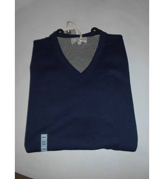 "M&S Collection Size 38"" Chest Navy Blue Cotton Jumper"