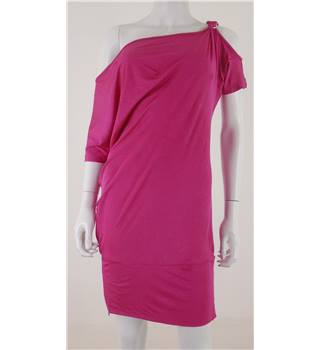 Karen Millen - size 8, fuschia pink asymmetric dress