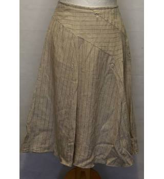Kew - Size: 14 - Cream with Thin Brown Stripes A-line skirt