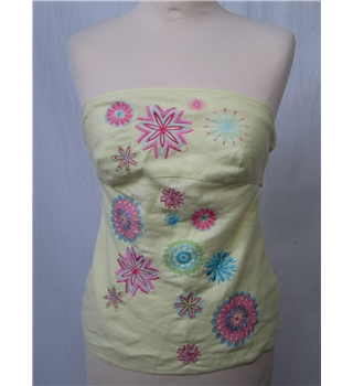 Warehouse - Size 8 - Yellow with embroidered floral pattern and long back tie top
