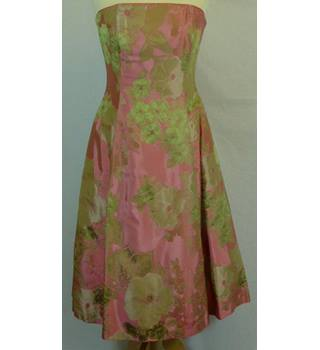 Paule Vasseur Size: 12 Pink with Green Floral Dress