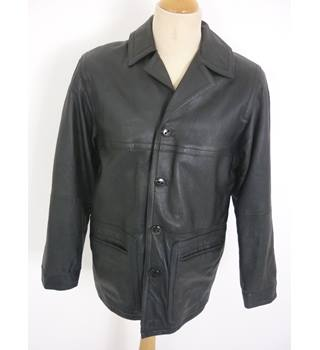 "West Rock  Size: S, 36"" chest, regular  length Black Casual/Handsome Plain Leather Look Jacket"