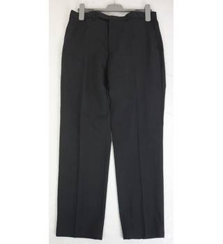 "M & S Size: L, 36"" waist, 31"" inside leg, slim fit Charcoal Grey Smart/Stylish Wool Blend Flat Front Trousers With Active Waist"