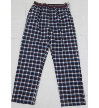 NWOT M&S Collection, size L blue & wine checked lounge wear trousers
