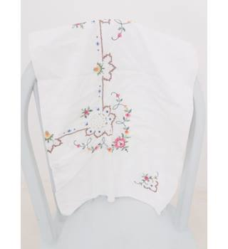 Amazing Small Hand Cross Stitched Flower Tablecloth