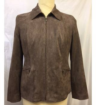 Ladies Short Brown Jacket in Faux Suede, Size 14