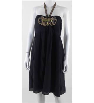 Karen Millen Size 14 Black Halter Neck with Prominent Embellishment and Beaded Straps Dress