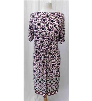 NWOT M&S Collection Size: 18 - White with Purple, Black and Brown Abstract Pattern Dress