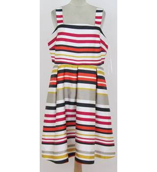 M&S Marks & Spencer - Size: 16 - White, red, pink, black, gold, and silver striped dress
