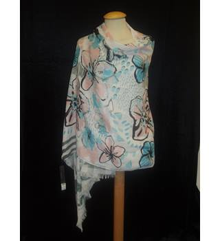 BNWT  Dorothy Perkins  One size  White with hand painted flowers in pink, blue, grey and black Shawl