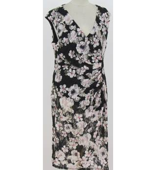 Kaliko - Size: 14 - Black with white floral print cocktail dress