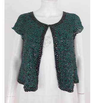 Malene Birger Size 10 Teal Green Silk Waistcoat with Black Bead and Sequin Embellishment