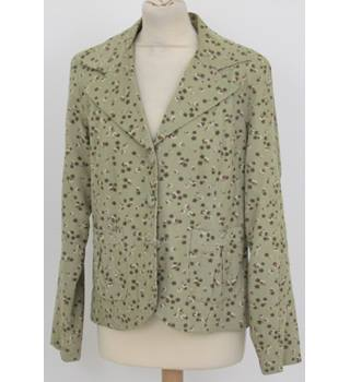 Alannah Hill, size 14, vintage style pale green patterned short jacket.