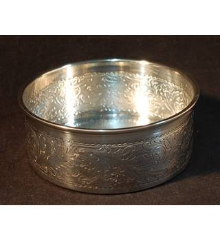 925 Silver Stamped Thali Dish or Wine Coaster