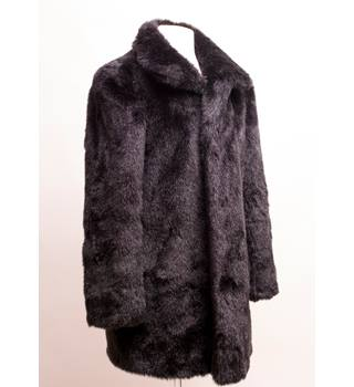 Marks and Spencers black faux fur coat size 12 M&S Marks & Spencer - Size: 12 - Black - Smart jacket / coat