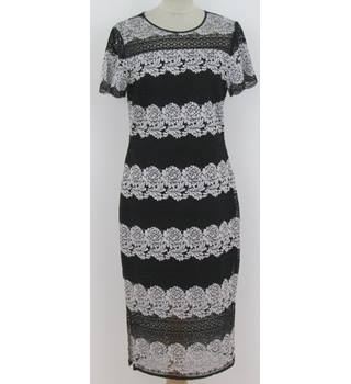 M&S, Size: 10, Black and White Lace Dress