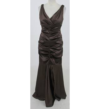 Xscape: Size 10: Brown ruched evening dress