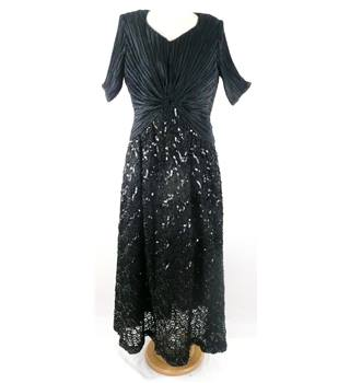 Vintage 1980s George F Couture Size Approx 16 Fortuny Black Evening Maxi Dress