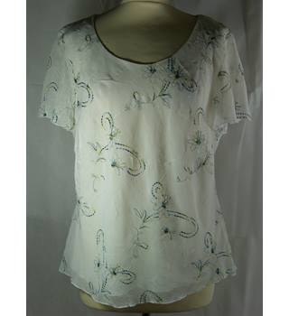 Roman Originals - Size 18 - White with embroidered green/blue floral pattern short-sleeve blouse