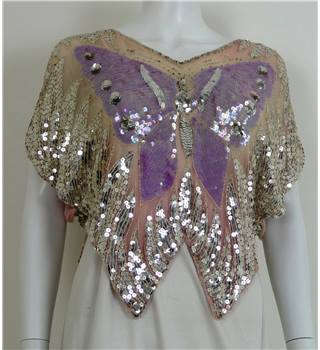 Unbranded - Size XXXL Pink sequinned with purple butterfly design top