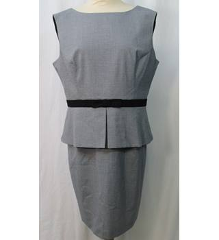 Miss Selfridge - Size: 16 - Grey Fine Check - Knee length dress