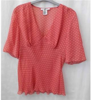 LK Bennett - Size 10 - Pink with cream polka dots short-sleeve blouse