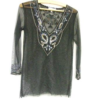 Black sequinned evening top FeeG - Size: 12 - Black