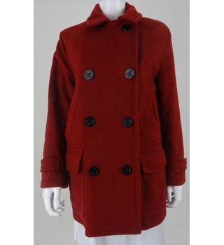 Lands' End Size S Wine Red Wool Blend Peacoat