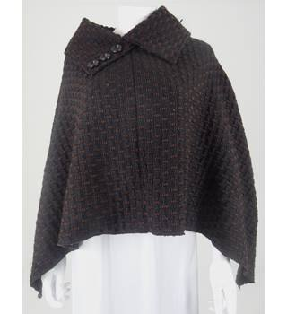 Unbranded One Size Black & Brown Basket Weave Poncho