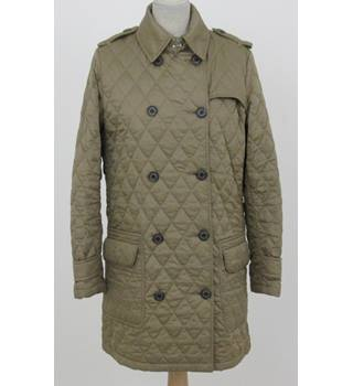 Barbour - Size: 12 - Beige Double Breasted 3/4 Length Coat