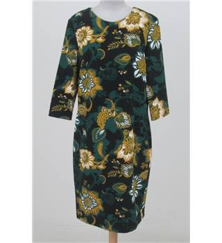 NWOT Per Una size: 12 black green & yellow floral shift dress
