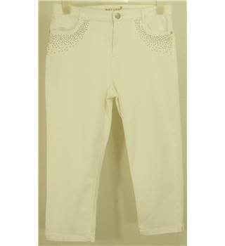 Per Una Size 14  White with Bronze Stud Embellishment Cropped Jeans