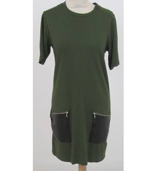 Whistles - Size: 10 - Green dress with faux leather pockets