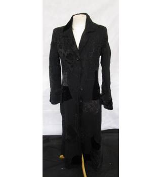 Jigsaw Very Long Black Coat - Gothic Look - Size 10 UK - Fitted