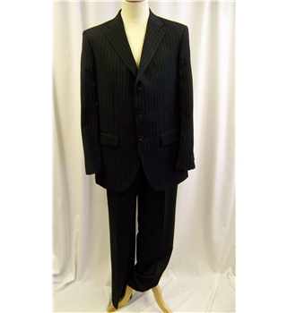 Andrew Fezza size: M navy blue pinstripe single breasted wool suit